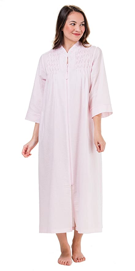 100% top quality select for newest footwear Miss Elaine Women's Seersucker Long Zipper Robe