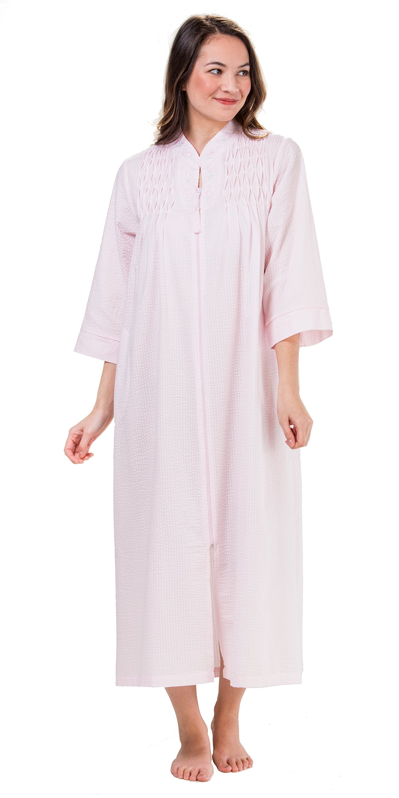 Miss Elaine Women's Plus Size Seersucker Long Zipper Robe, Pink, 2X