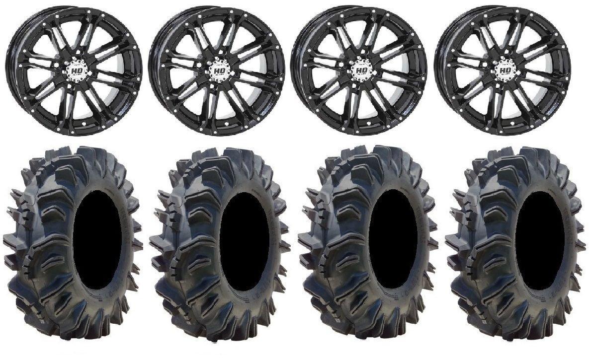 Bundle - 9 Items: STI HD3 14'' Wheels Black 28'' Terminator Tires [4x156 Bolt Pattern 12mmx1.5 Lug Kit]