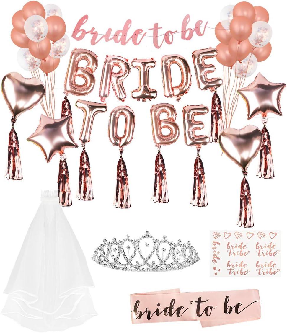 Lehoo Castle Braut to Be Deko Strass-Tiara/&Schleier JGA Deko Junggesellenabschied Deko mit Banner Folienballons Rosegold Brautschleier Rosegold Luftballons Braut Tattoo Sch/ärpe