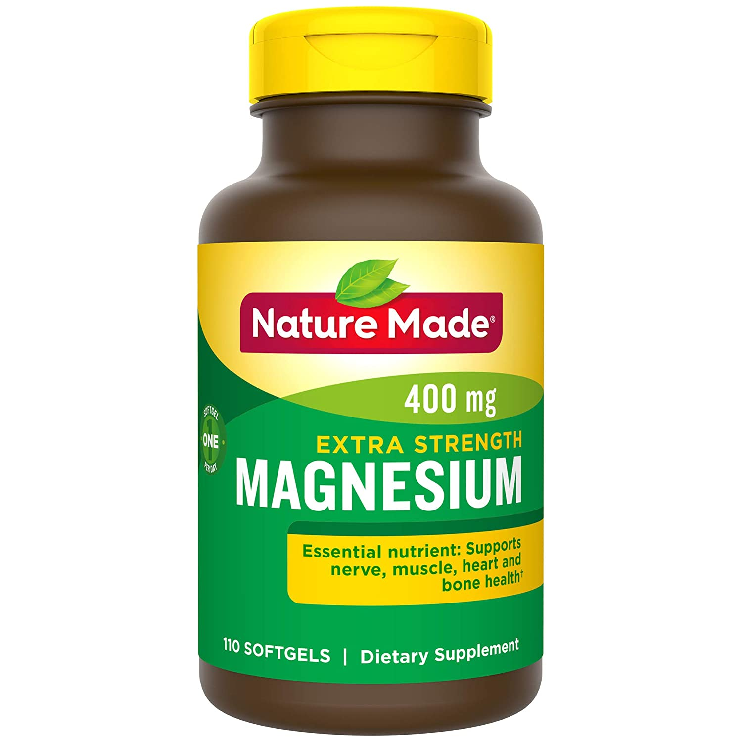 Nature Made Extra Strength Magnesium Oxide 400 mg Softgels, 110 Count for Nutrition Support (Packaging May Vary)