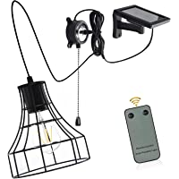 Solar Barn Lights, Low Voltage 3V Solar Powered Hanging Shed Light with Remote Control and Pull Cord Vintage E27…