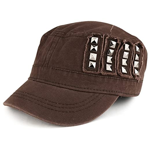 1a889a3d72e4e7 4 Panel Jeep Style Flat Top Military Cap with Metallic Studs - BROWN ...