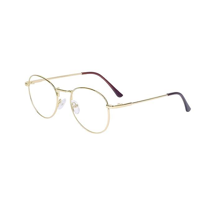 f0fe76523b vintage redondas Transparentes gafas Nerd retro para mujeres Unisexo  montura de metal gafas Mujer Monturas de gafas