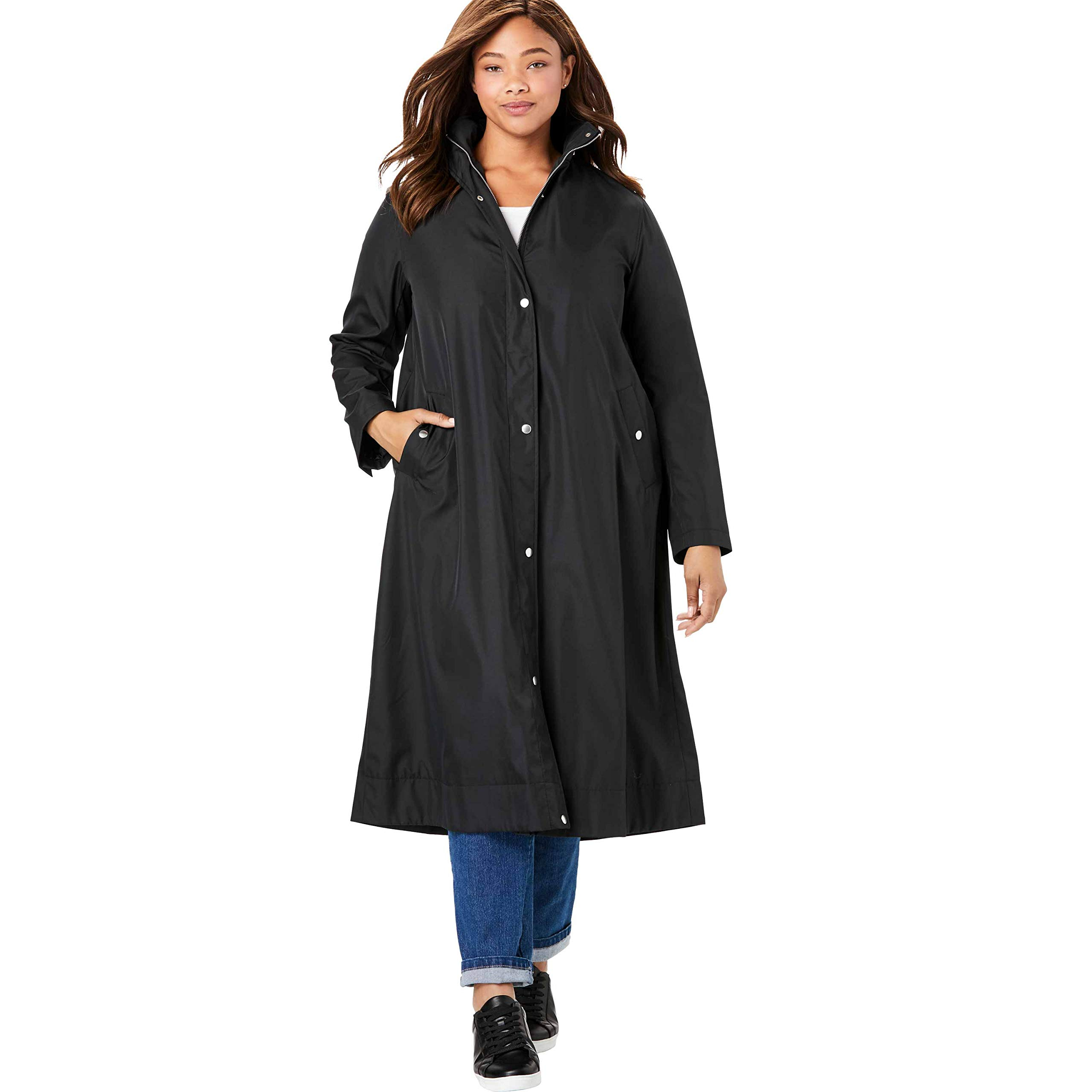 Woman Within Women's Plus Size Water Repellent Long Raincoat