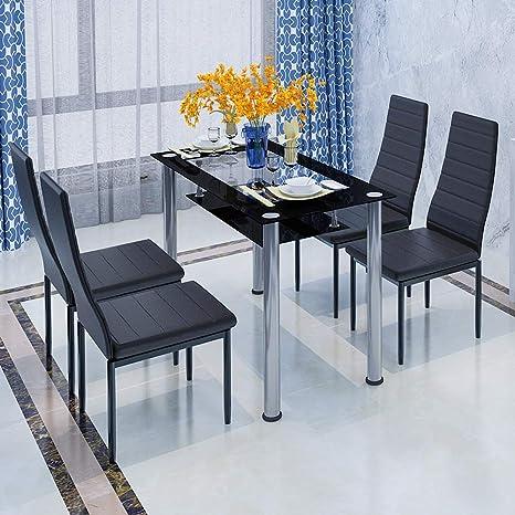 Mesa de comedor moderna de cristal templado negro con patas de metal para  cocina, mesa de salón contemporánea 4/6/8 personas 2 Tiers Table