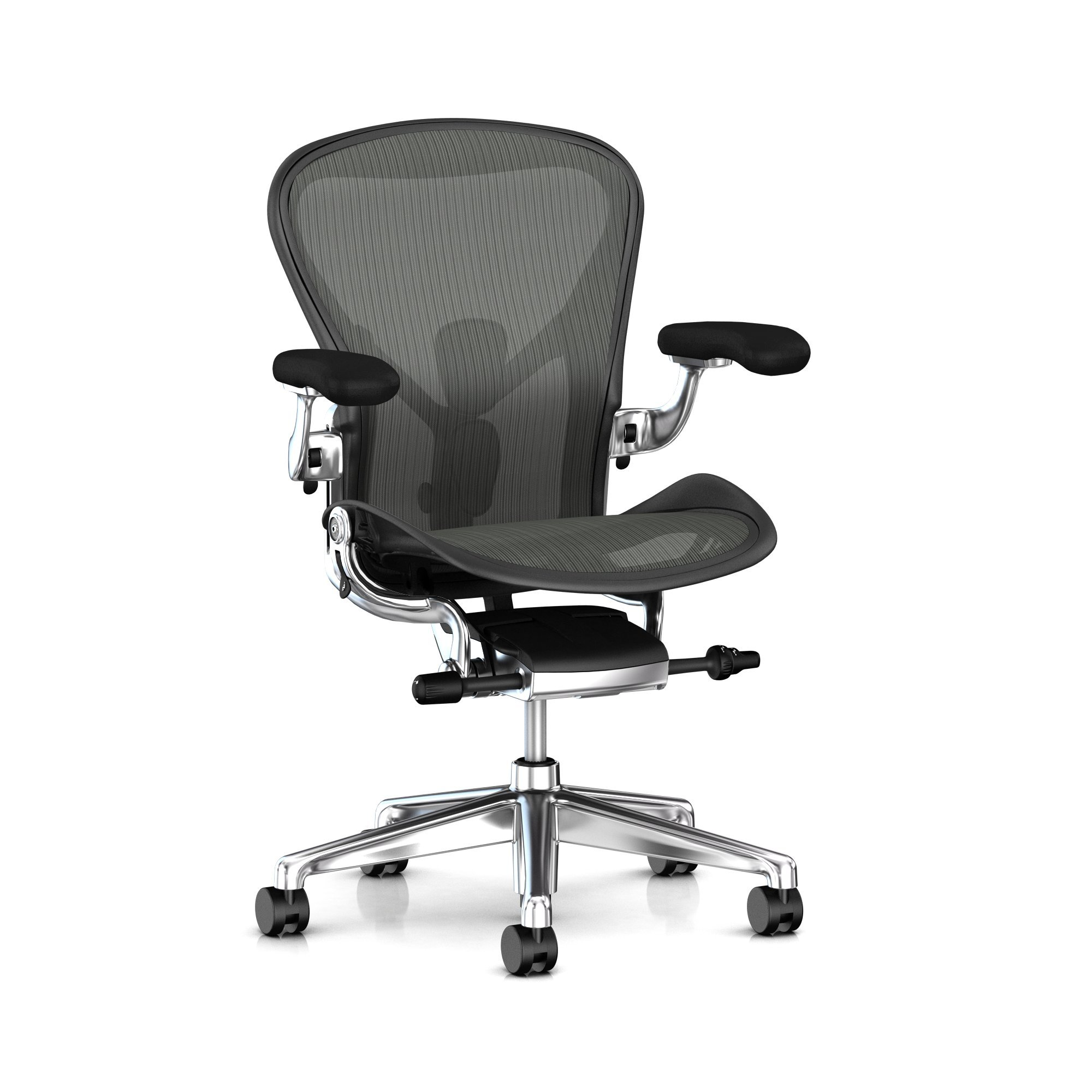 Herman Miller Aeron Ergonomic Office Chair with Tilt Limiter and Seat Angle | Adjustable PostureFit SL, Arms, and Carpet Casters | Medium Size B with Graphite / Polished Aluminum Finish