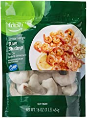 Fresh Brand – Raw Extra Large Peeled & Deveined Tail On Shrimp (26-30 Count/Pound), 1 lb (Frozen), Responsibly Sourced, Phosp