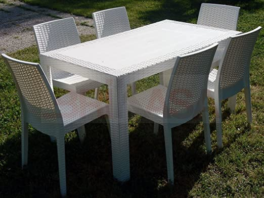 Tavolo Da Giardino Bianco.Dimaplast Set Garden Tavolo E 6 Sedie Da Giardino Bianco Amazon
