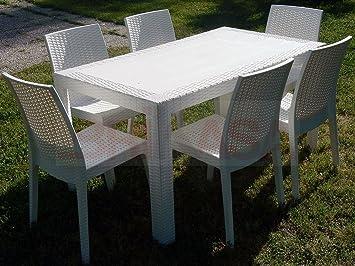 Tavolo Da Giardino Bianco.Dimaplast Set Garden Tavolo E 6 Sedie Da Giardino Bianco