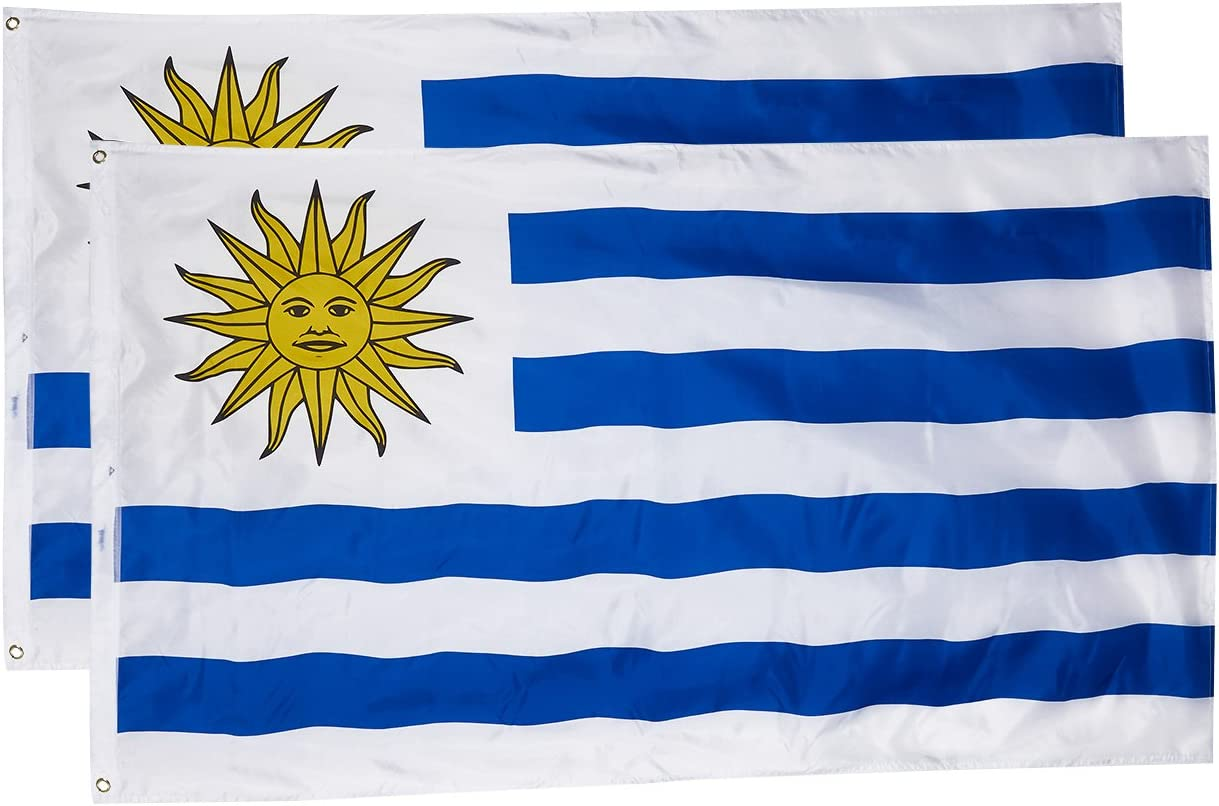 0.9 x 1.5 m Double Stitched Polyester Flags with Brass Grommets Juvale Uruguay Flags 2-Piece - Outdoor Uruguay Flags Uruguayan National Flag Banners