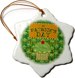 3dRose St Patrick Day Cup Cake, Cherry on Top, Four Leaf Clover Plaid. - Ornaments (ORN_280571_1)