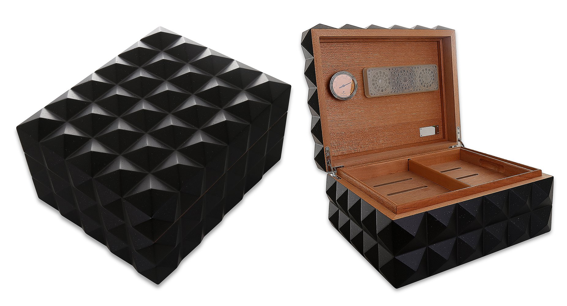 Capo Lily Cigar Humidor Case with Humidifier and Hygrometer, Black Galaxy, Spanish Cedar Wood (Holds Up to 100-125 Cigars)