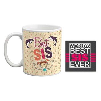 Giftsmate Bhaidooj Gifts For Sister Mug Best Combo Coaster Set Of 2 Birthday