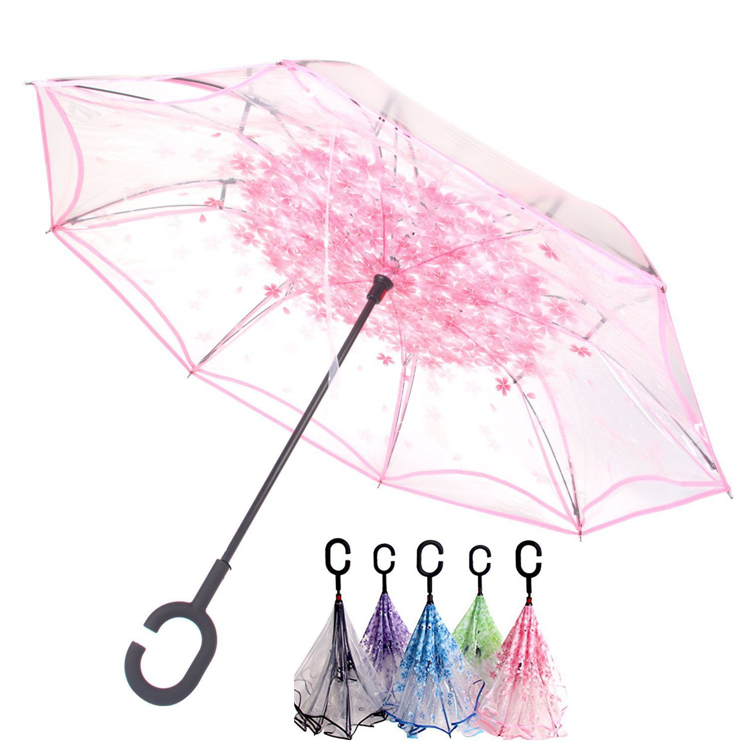 Transparent Cherry Blossom Inverted Umbrella Cars Reverse Umbrella, Windproof UV Protection Big Straight Umbrella for Car Rain Outdoor With C-Shaped Handle Vchoco