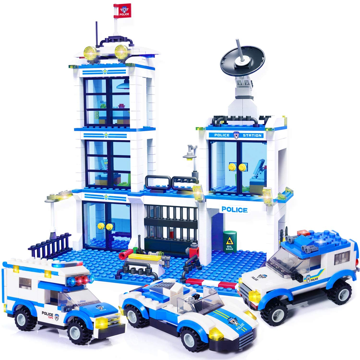 Amazon Com Wishalife 818 Pieces City Police Station Building Kit Police Car Toy City Sets Police Sets With Cop Car Patrol Vehicles For Boys And Girls 6 12 Toys Games