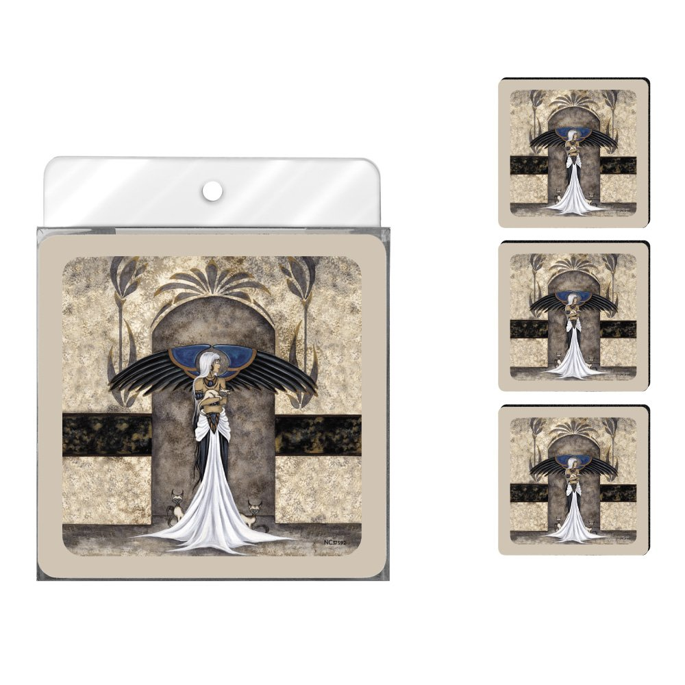 Tree-Free Greetings NC37592 Amy Brown Fantasy 4-Pack Artful Coaster Set, Keeper of The Cats Fairy