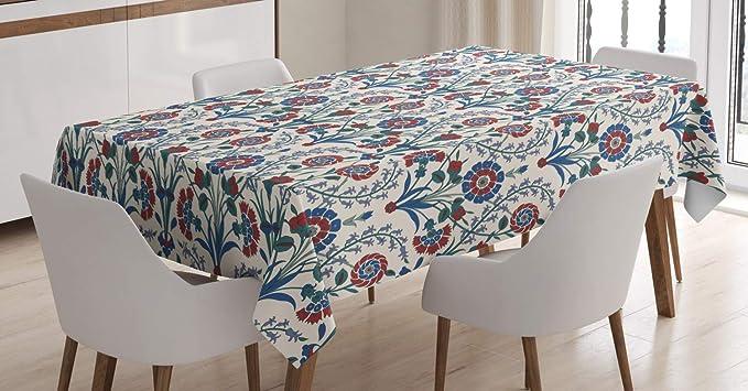 Imagen deABAKUHAUS marroquí Mantele, Ornamento de la Hoja Floral, Resistente al Agua Lavable Colores No Destiñen Personalizado, 140 x 200 cm, Maroon Teal