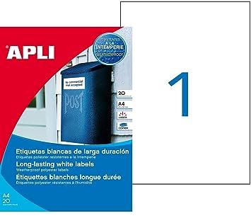 APLI 1228 - Etiquetas blancas imprimibles (210,0 x 297,0), resitentes a la intemperie 20 hojas: Amazon.es: Oficina y papelería