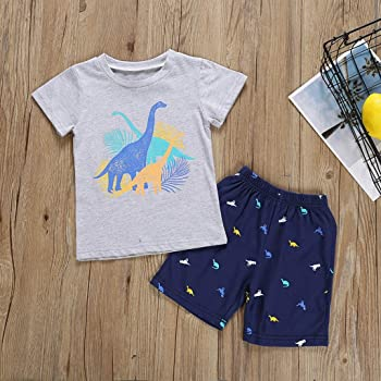1-5 Years,SO-buts Toddler Kids Baby Boy Short Sleeve Cartoon Rainbow Print T-Shirt Tops Jeans Denim Shorts Party Wedding Casual Lovely Party Outfits