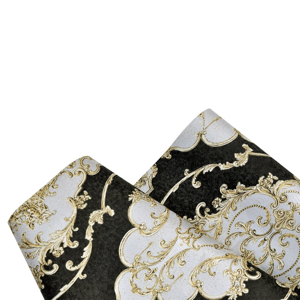 HaokHome 360207 Luxury Heavy Texture Victorian Damask Wallpaper Black/Gold/Brown/Silver for Home Accent Wall 20.8''x 31ft by HAOKHOME (Image #8)
