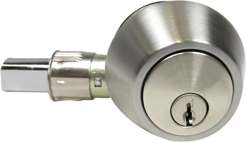Pro-Grade Classic Mobile Home Single Cylinder Deadbolt Door Hardware, Satin Nickel