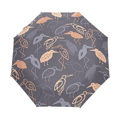 DOENR Compact Travel Umbrella Pink Bird Sun and Rain Auto Open Close Umbrellas Windproof UV Protection Umbrella