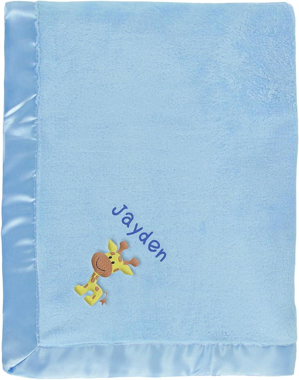 ❤ Baby manta bordada con nombre y fecha ⭐ blanco con Rosa jirafa ⭐ ❤