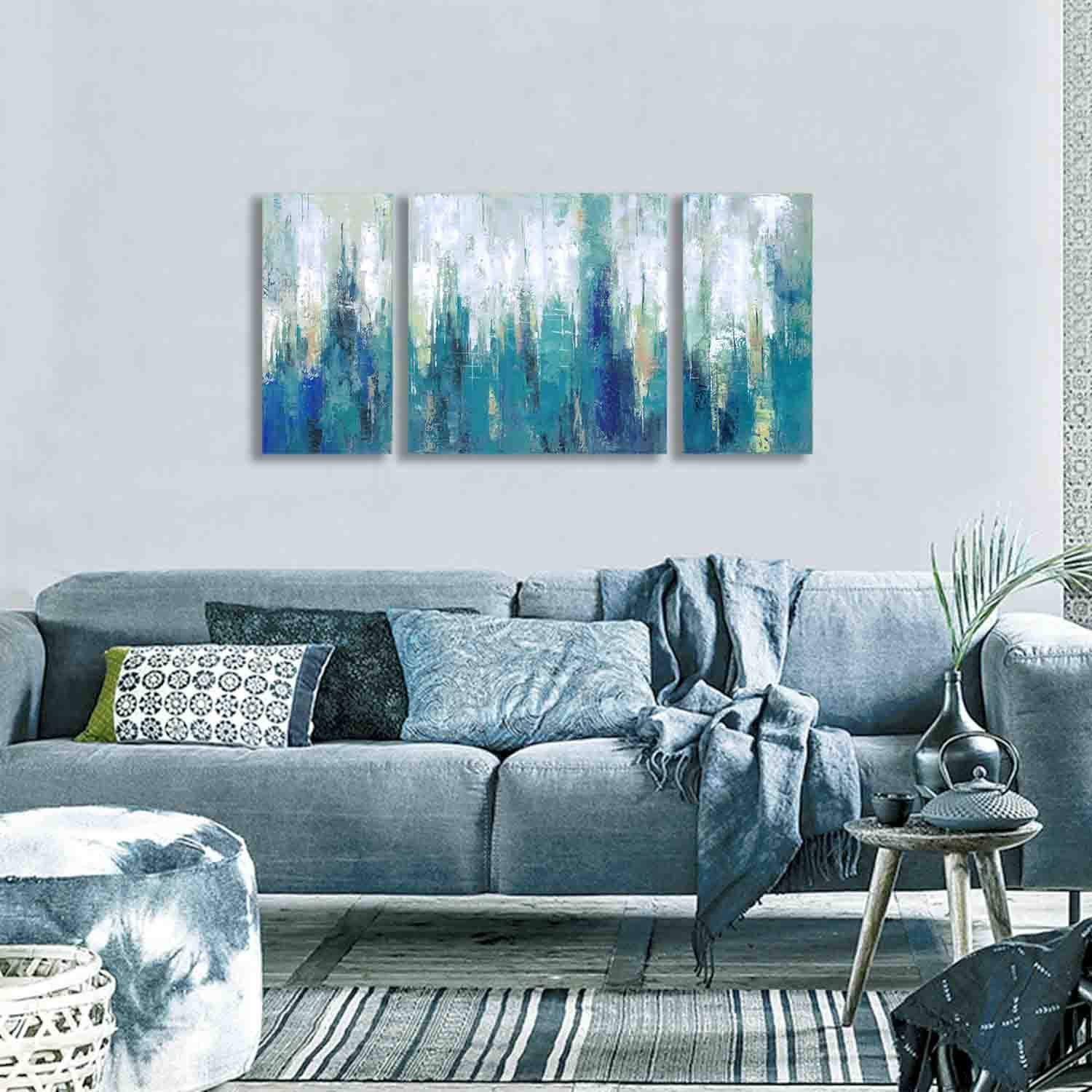Paintings 3 Piece Minimalist Home Decor 3hdeko Stretched 3d Smoky Blue Gray Abstract Canvas Wall Art Silver Glitter Embellished Hand Brushed Textured Painting For Living Room Bedroom 60x30inch Kitchen