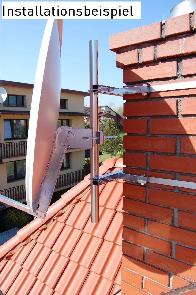 A.S /Pole mount kit No Drilling Required for installation SAT 38910/Galvanised Steel Chimney/