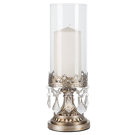 Christmas Tablescape Decor - Antique Victorian style silver glass hurricane pillar candle holder with hanging chandelier style crystals