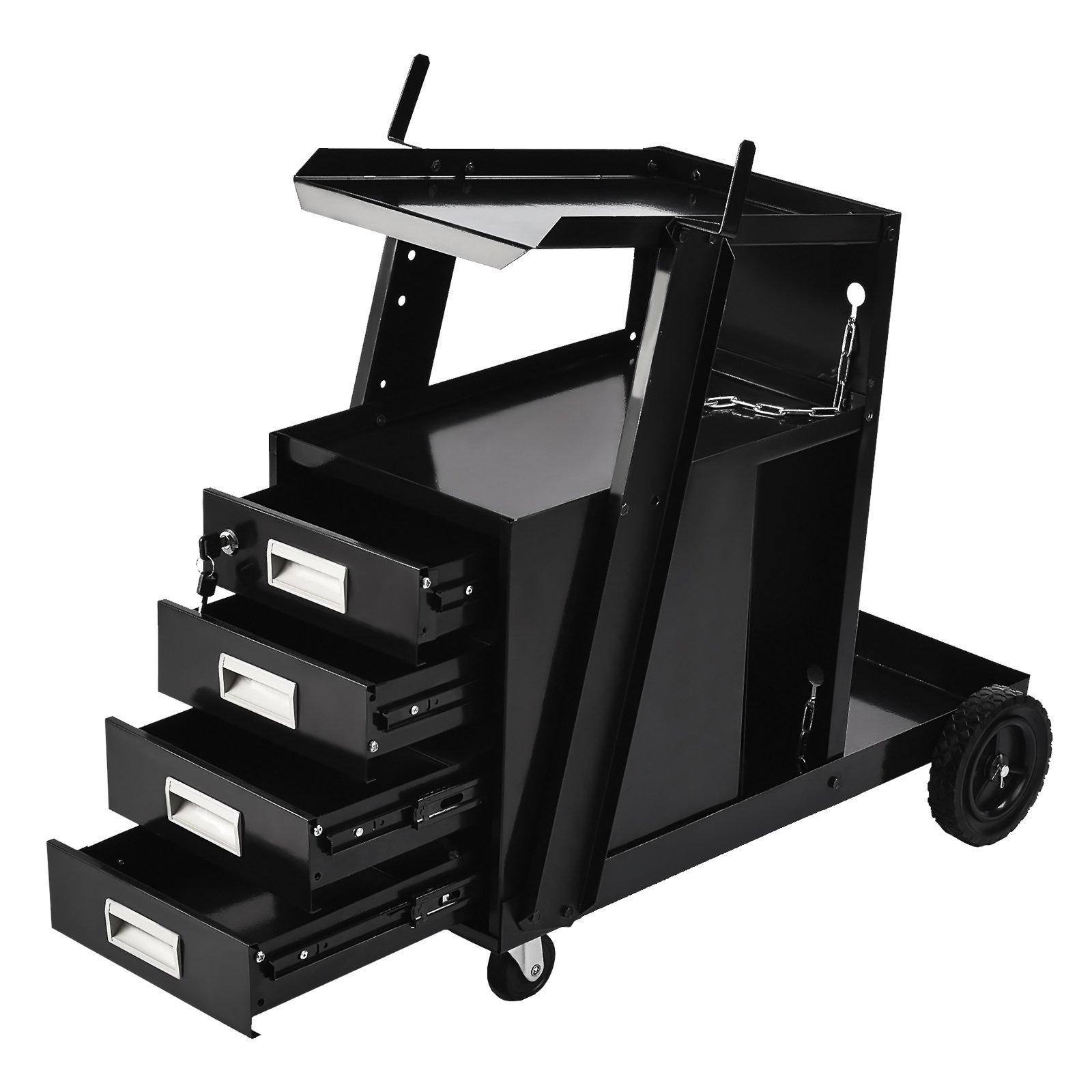 SUNCOO Welding Cart Welder Utility Cart Trolley Plasma Cutter Universal Storage for Tanks MIG –with Rear Wheels Swivel Casters,2 Safety Chains,4- Drawer,100 Lb Capacity,Powder-Coat Black Finish