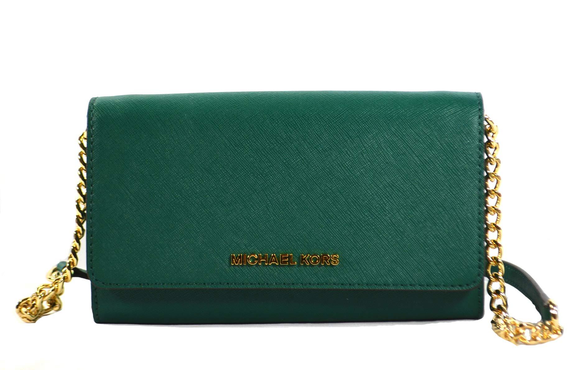 Michael Kors Jet Set Travel Saffiano Leather Small Crossbody Bag Purse Handbag Iphone Smart Phone Holder Case, Damson (Emerald)