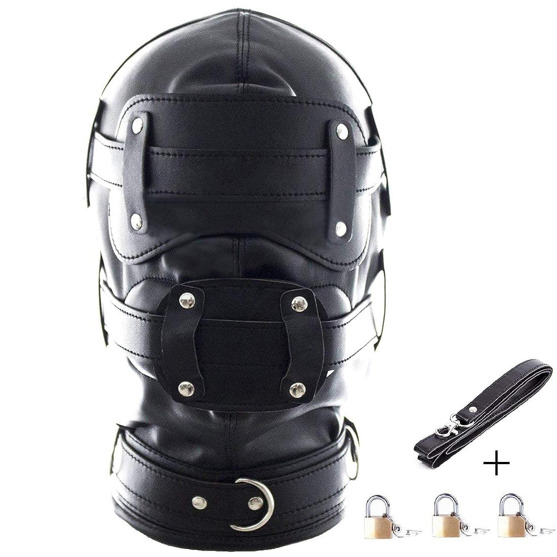 Amazon.com  Leather Bondage Gimp Mask Full Face Blindfold Mask Hood  Lockable   Dildo Penis Mouth Gag Bondage Sex Toys DSM Fetish Hood  Clothing