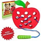 Playahoy Apple Lacing Threading Toy Fun Learning Game for Kids l Builds Basic Life Skills l Great Airplane Car and House Toy