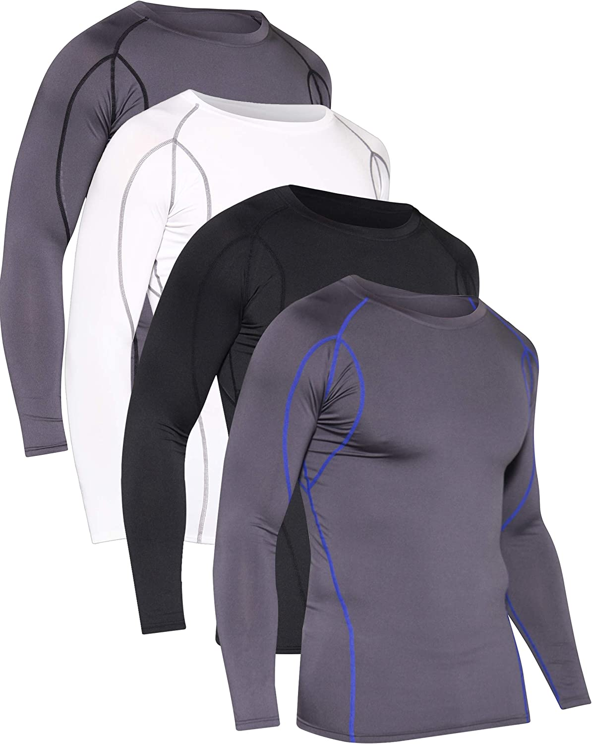 Men Quick Dry  Long Sleeve Under Base Layer Compression  T-Shirt Sports Top