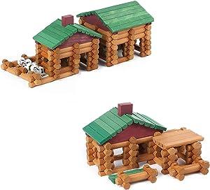 Wondertoys 260 Pieces Wood Logs Set, 170 Pieces and 90 Pieces Classic Wood Cabin Logs Set