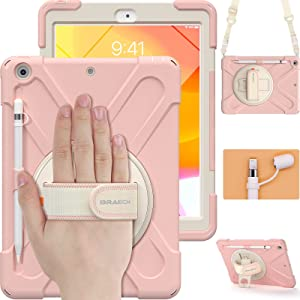 BRAECN iPad 10.2 Inch Case 2020/2019, Three Layer Hybrid Protective Kids Boys Girls Case with Shoulder Strap, Hand Strap, Stand, Screen Protector, Pencil Holder for Apple iPad 8th/7th Gen -Sakura Pink