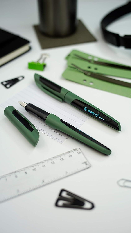 Pack da 1 STABILO Flow SPORTY in muschio//nero Penna Stilografica Cartuccia inclusa