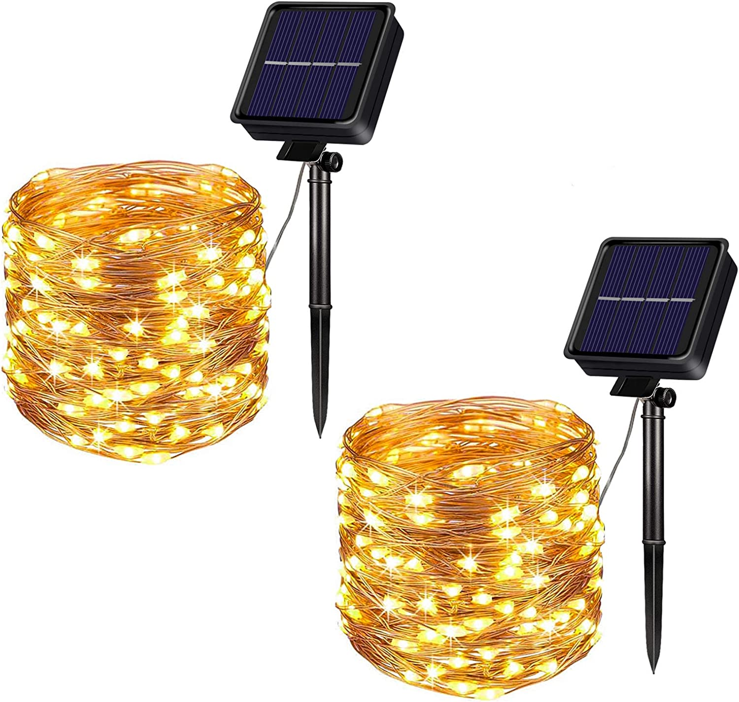 Outdoor Solar String Lights, 2Pack 33FT 100 LEDs Solar Fairy Lights Waterproof Decoration Copper Wire Lights with 8 Modes for Indoor Outdoor Patio Yard Trees Christmas Wedding Party Decor (Warm White)