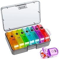 Tablettenbox 7 dagen 2 vakken draagbare pillendoos met aparte vakken vochtbestendige medicijnbox wekelijkse tabletdoos…