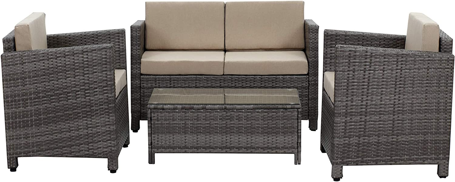 Wisteria Lane 5 Piece Outdoor Furniture Set,Patio Sectional Sofa All Weather Wicker Chair Loveseat Glass Table Conversation Set,Grey