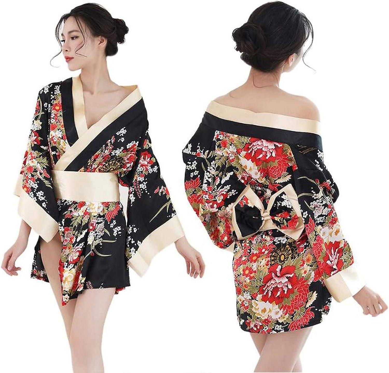 Kimono japonés Tradicional para Mujer, Sexy y Profundo, Kimono de satén con Estampado Floral - Negro - Talla única: Amazon.es: Ropa y accesorios