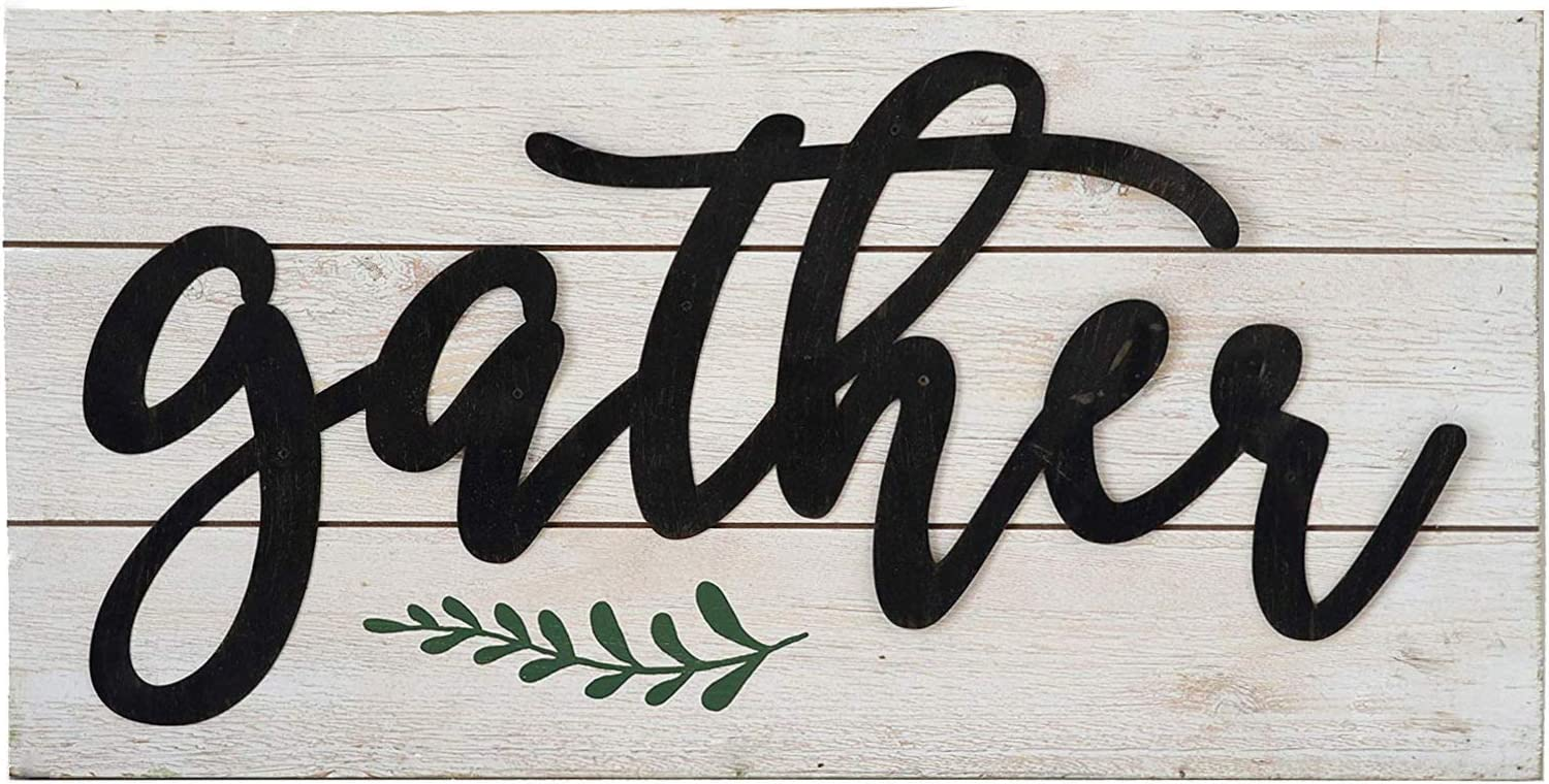 Gather Rustic Wall Sign, Farmhouse Whitewashed Wood Plaque with Raised Black Metal Quotes£¬Family Wall Decor for Living Room Bedroom Entryway Kitchen, 23.6 x 11.8 x 1.8 Inches