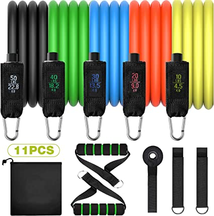 Details about  /12 Pack Resistance Bands Set Workout Bands 5 Stackable Up to 150 lbs SET 1