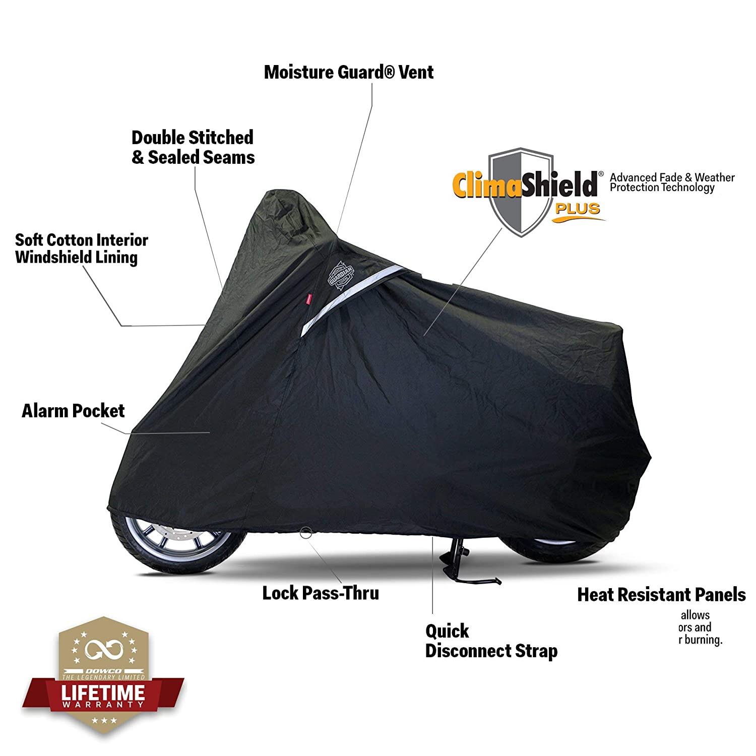 Large Dowco Guardian 50003-02 WeatherAll Plus Indoor//Outdoor Waterproof Motorcycle Cover Black