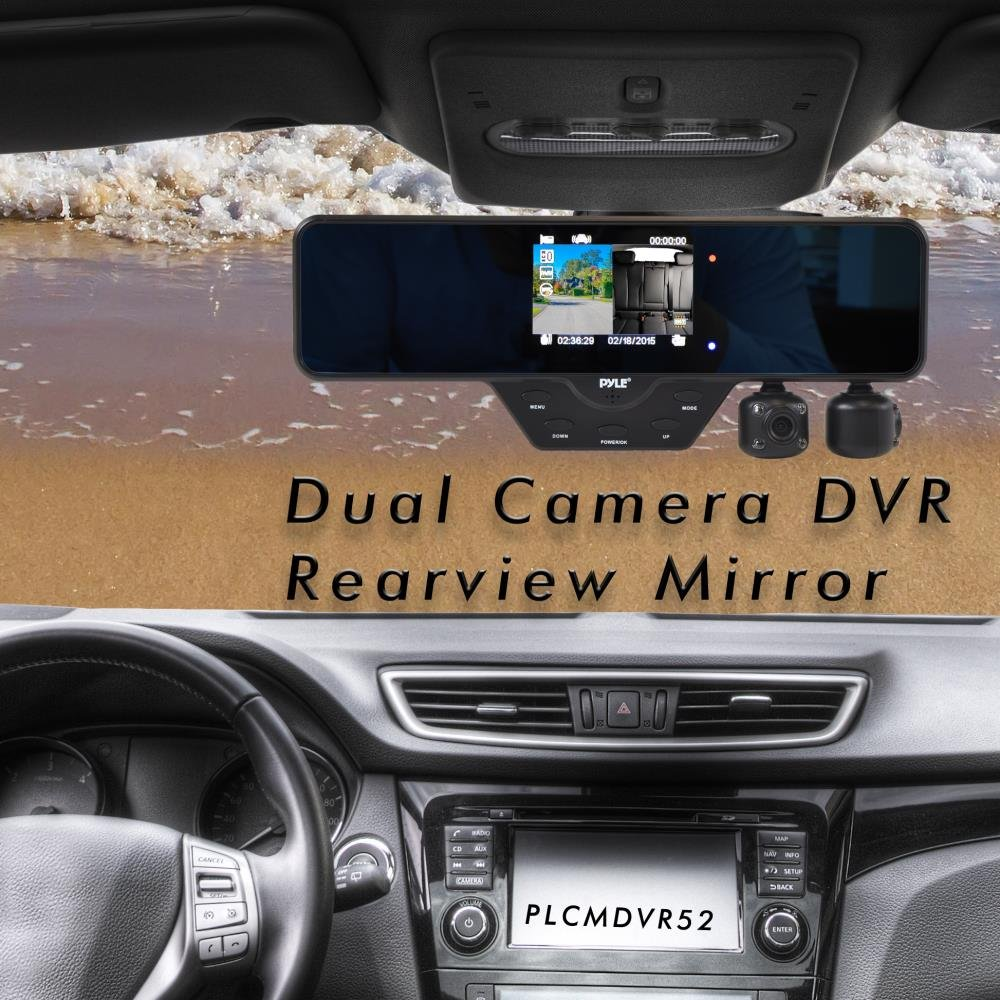 HD 1080p 120 Degree Wide-Angle Lens 3.5 LCD Display Night Vision Night Vision LED Upgraded Pyle Dual Dash Cam Car DVR Loop Recording Adjustable Waterproof Front /& Rear View Reverse Parking