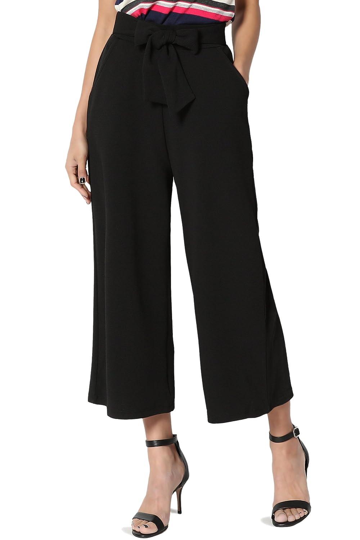 TheMogan Women's Slit Pocket Mid Rise Stretch Capri Trousers S~3XL Cropped Pants CS-IMP0743