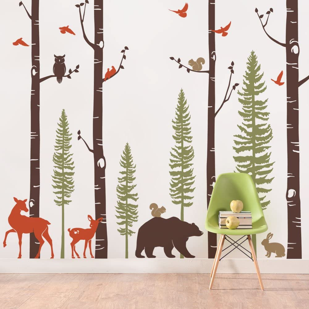 """Simple Shapes Birch Trees with Animals Wall Decal - Scheme A - 96"""" (243 cm) Tall Trees"""