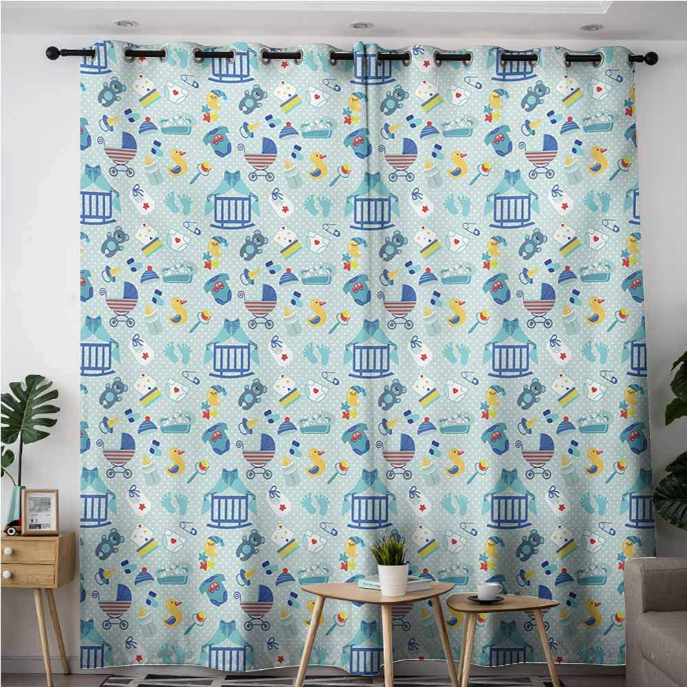 Indoor/Outdoor Curtains,Baby,Newborn Sleep Crescent Moon Pacifier Nursery Star Polka Dots Image,Room Darkening, Noise Reducing,W72x84L,Pale and Violet Blue Yellow by AndyTours